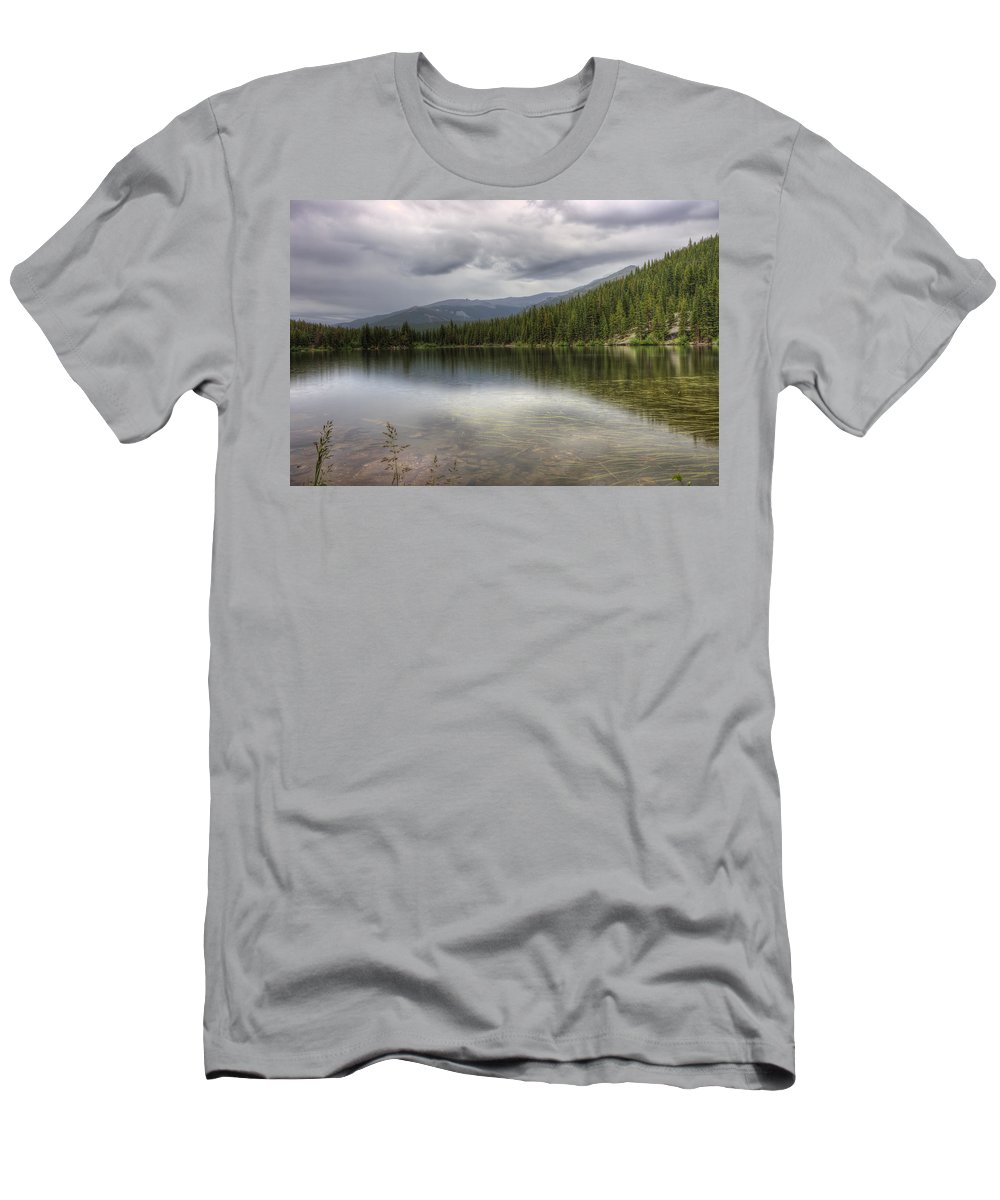 Rocky Mountain National Park Men's T-Shirt (Athletic Fit) featuring the photograph Bear Lake by Scott Wood