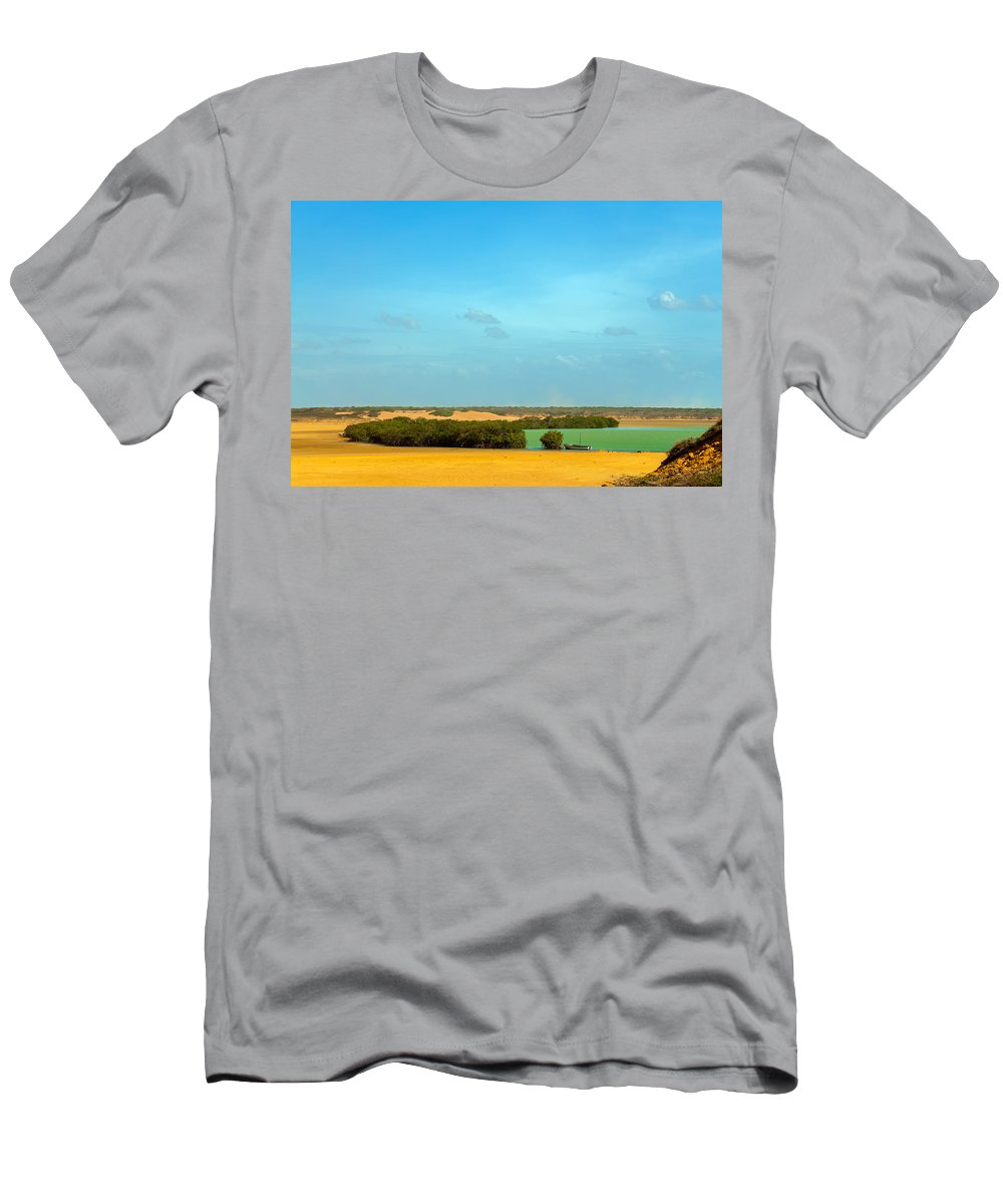 Bay Men's T-Shirt (Athletic Fit) featuring the photograph Beautiful Bay In A Desert by Jess Kraft