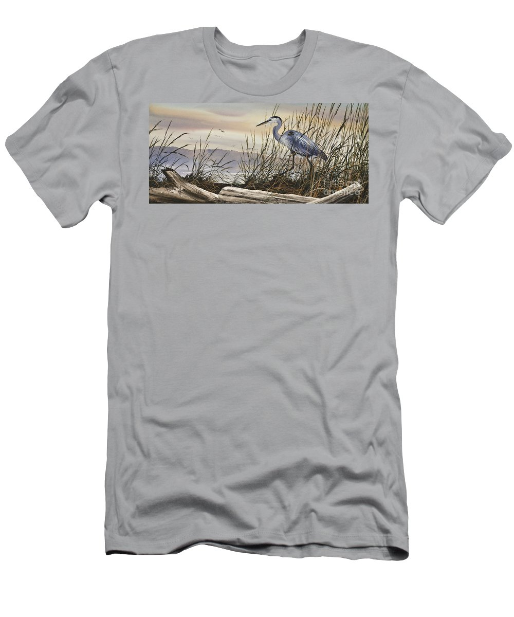 Heron Fine Art Prints Men's T-Shirt (Athletic Fit) featuring the painting Beauty Along The Shore by James Williamson