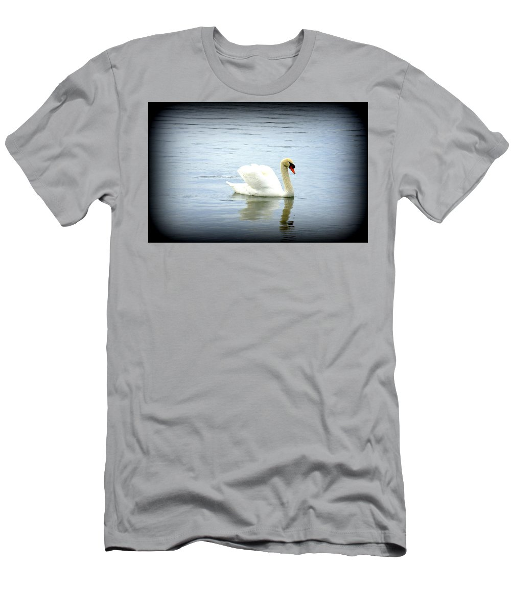 Swan Men's T-Shirt (Athletic Fit) featuring the photograph Beauty And Elegance by Laurie Perry