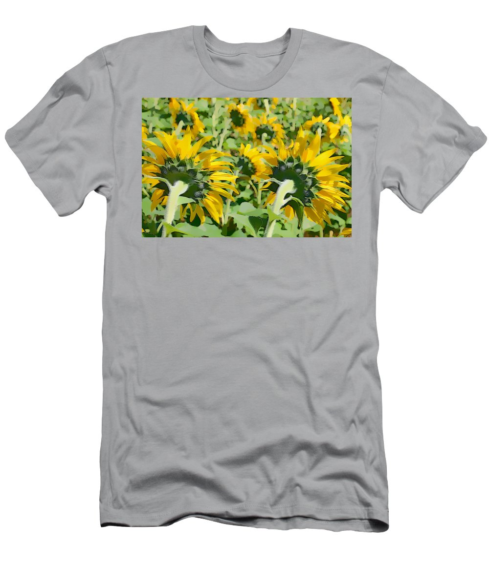 Sunflowers Men's T-Shirt (Athletic Fit) featuring the photograph Behind The Sun by Alice Gipson
