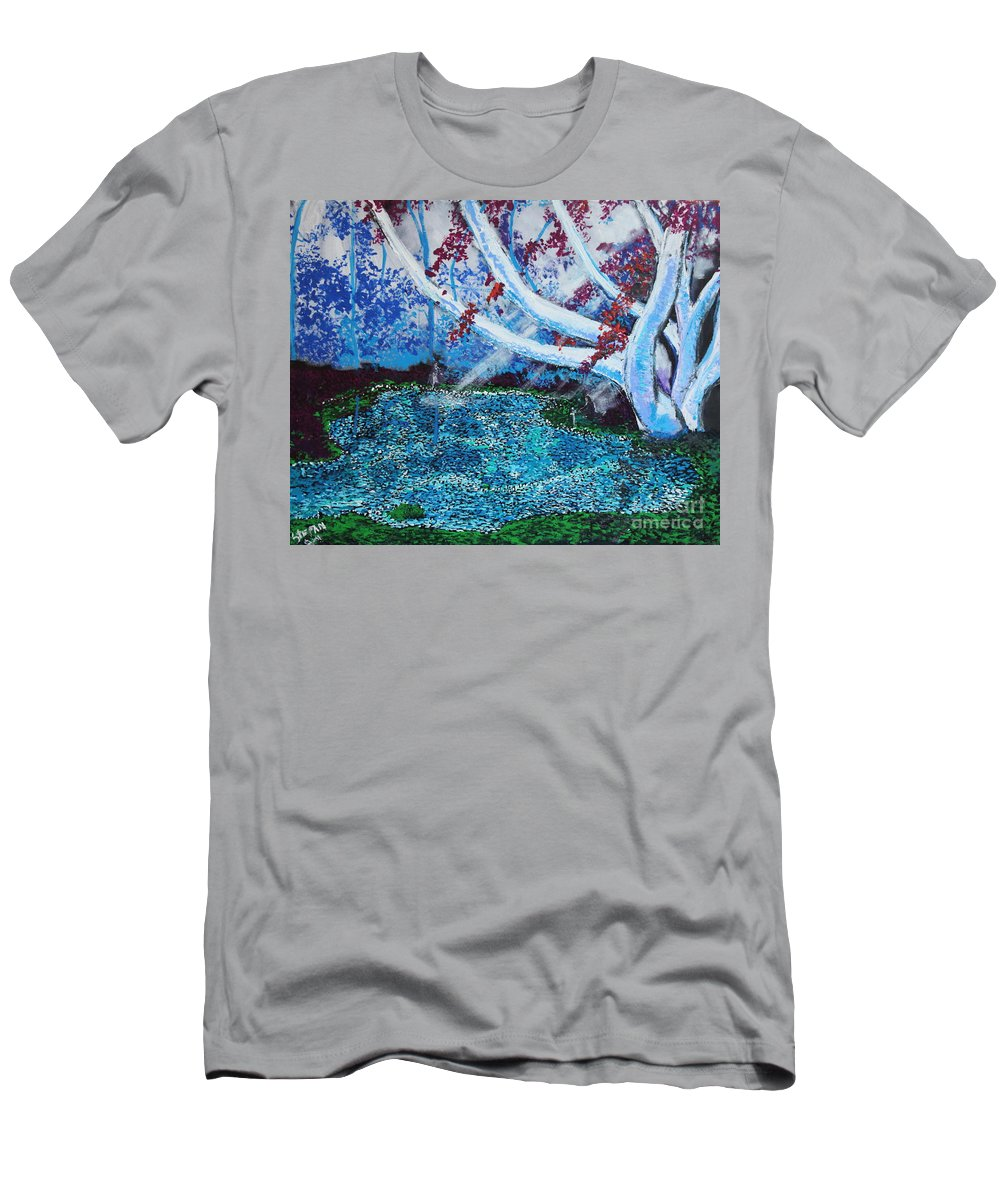 Landscape Men's T-Shirt (Athletic Fit) featuring the painting Beneath The Red Tree by Stefan Duncan