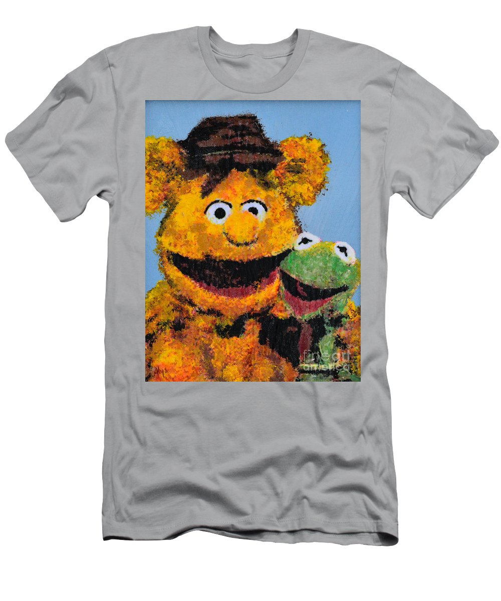 The Muppets Men's T-Shirt (Athletic Fit) featuring the painting Best Friends by Alys Caviness-Gober