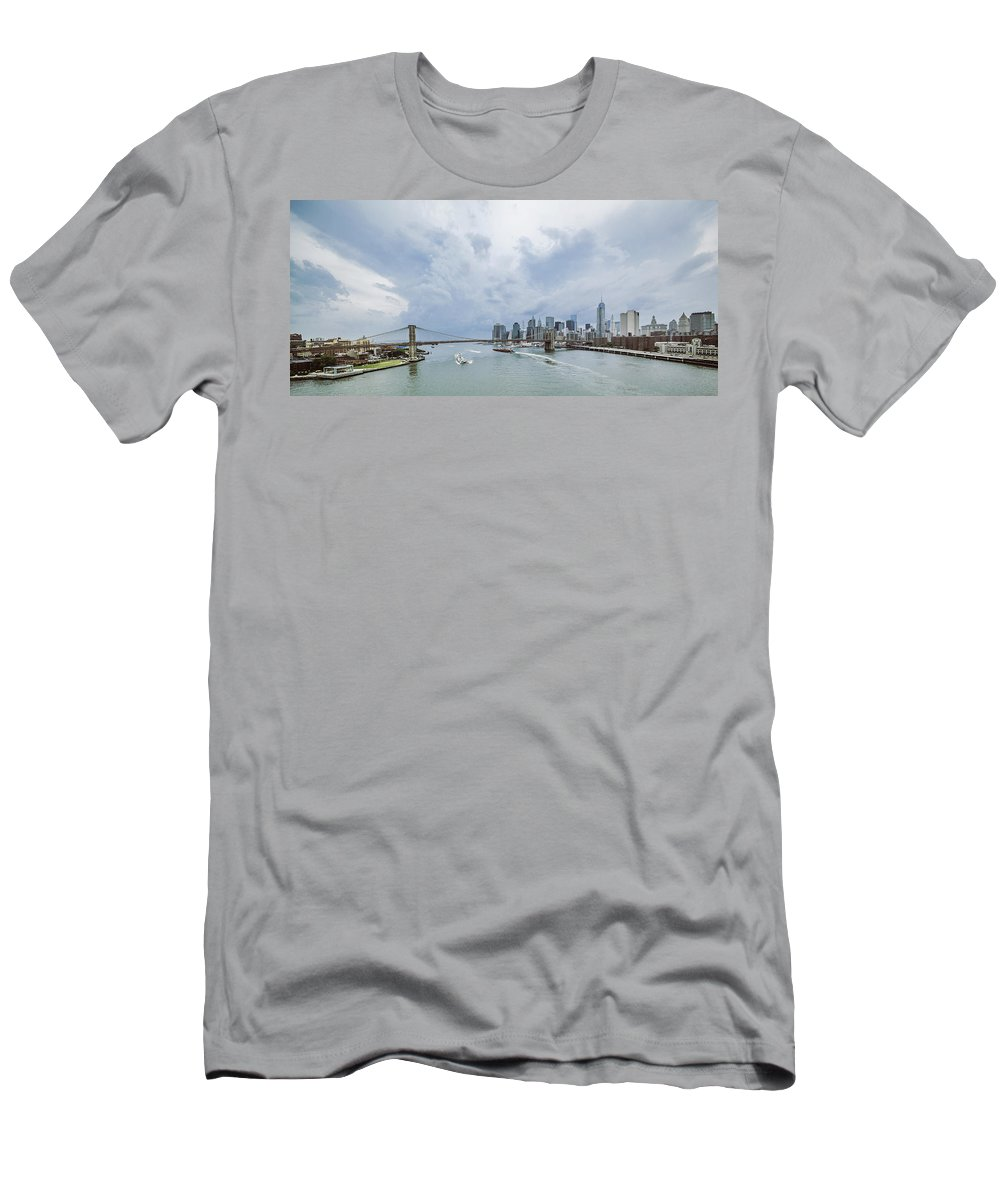 Manhattan Men's T-Shirt (Athletic Fit) featuring the photograph Between Brooklyn And Manhattan by Alex Potemkin