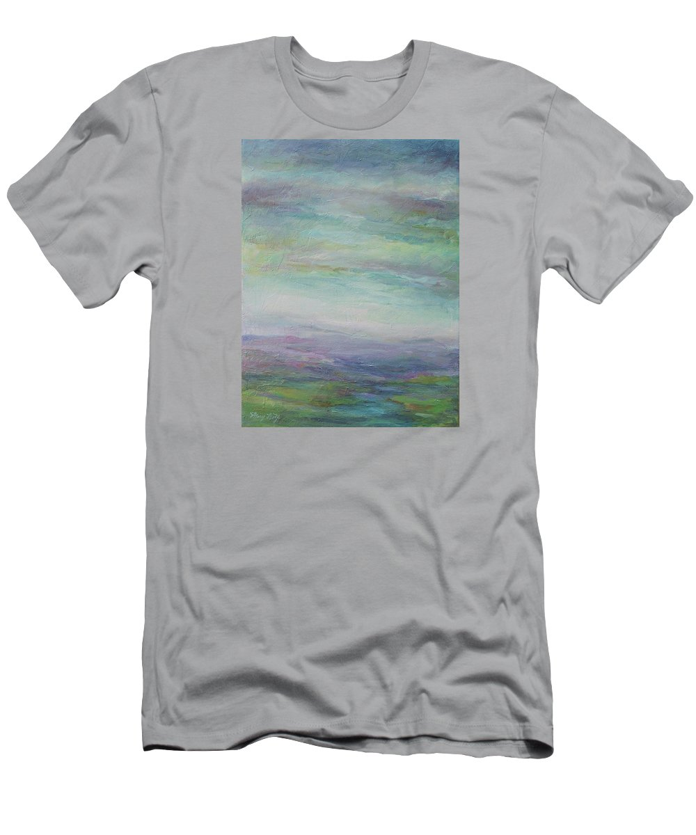 Landscape Men's T-Shirt (Athletic Fit) featuring the painting Beyond The Distant Hills by Mary Wolf