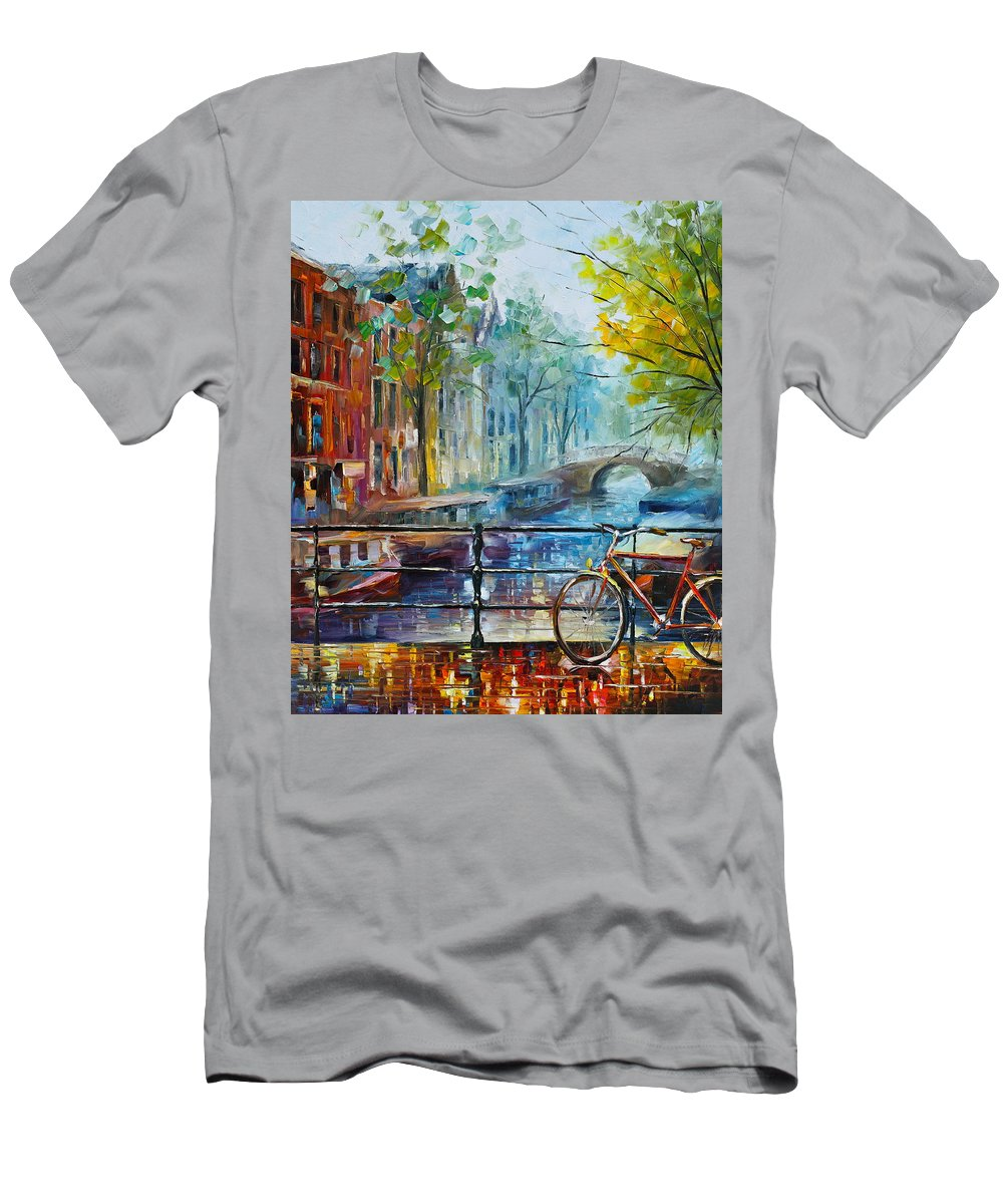 Amsterdam T-Shirt featuring the painting Bicycle in Amsterdam by Leonid Afremov