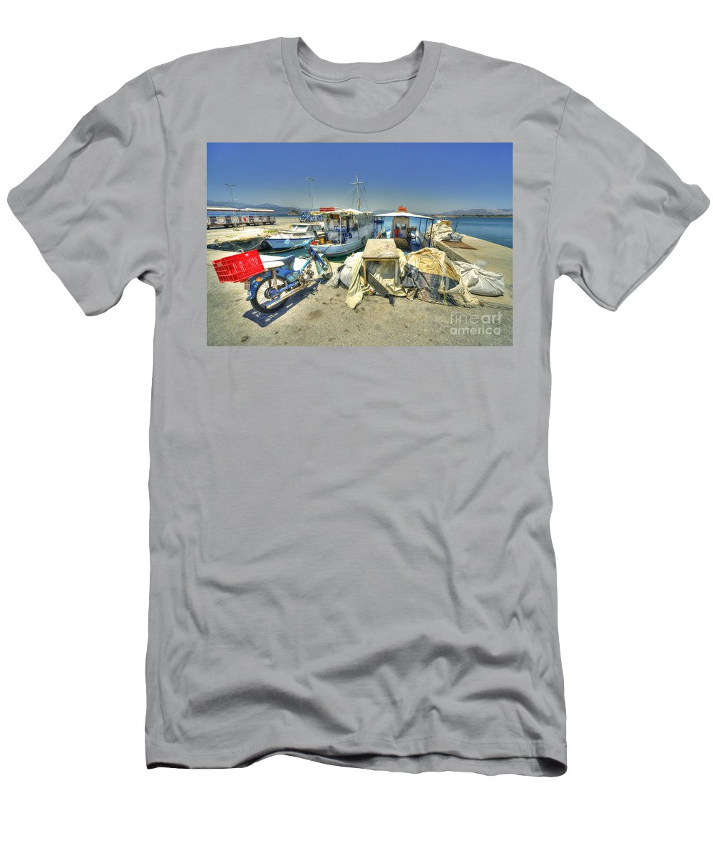 Nafplion Men's T-Shirt (Athletic Fit) featuring the photograph Bike And Boats At Nafplion Harbour by Rob Hawkins