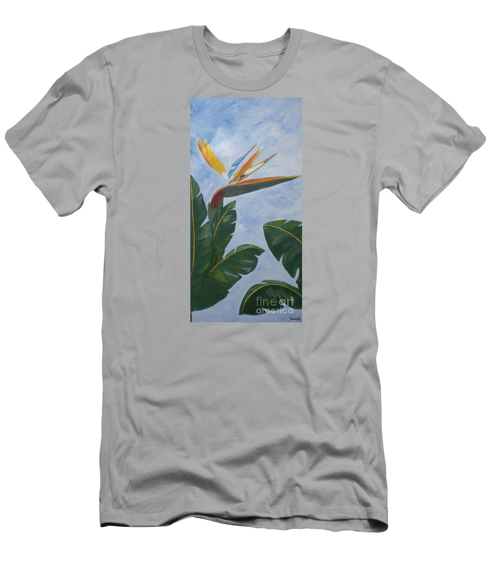 Bird Of Paradise Men's T-Shirt (Athletic Fit) featuring the painting Bird Of Paradise by Graciela Castro