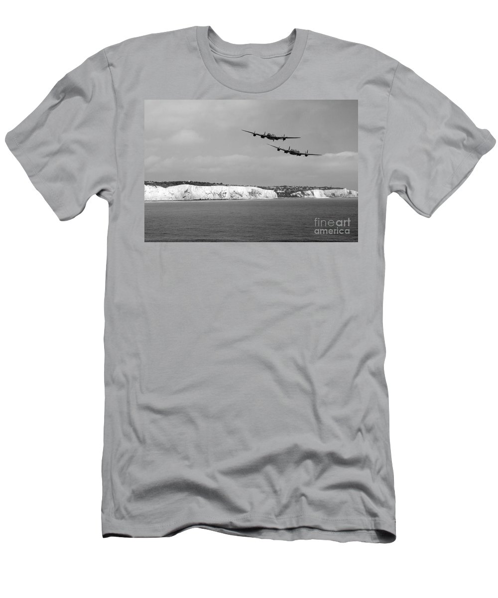Lancaster Men's T-Shirt (Athletic Fit) featuring the digital art Birds Over The Cliffs by J Biggadike