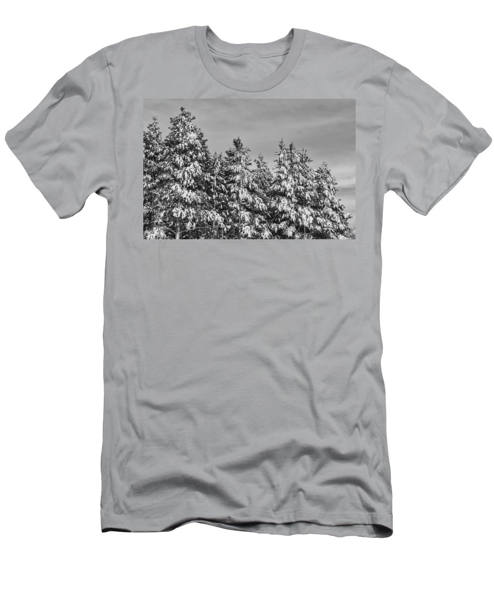 Snow Men's T-Shirt (Athletic Fit) featuring the photograph Black And White Snow Covered Trees by Brandon Bourdages