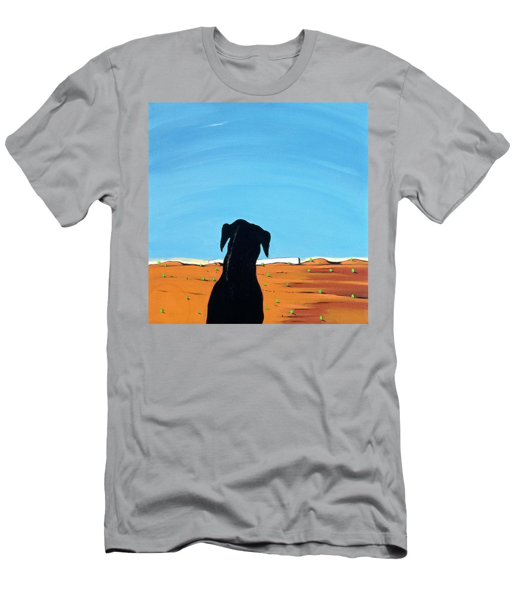 Landscape Men's T-Shirt (Athletic Fit) featuring the painting Black Dog In Chestertown, 1998 by Marjorie Weiss