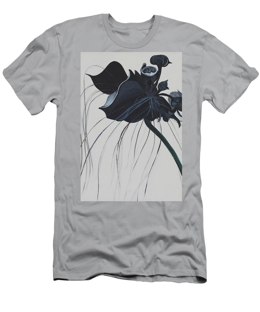 Black Orchid Men's T-Shirt (Athletic Fit) featuring the painting Black Orchid by Catt Kyriacou