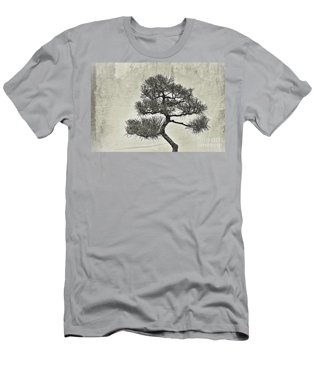 Bonsai Men's T-Shirt (Athletic Fit) featuring the photograph Black Pine Bonsai In Monochrome by Gary Richards