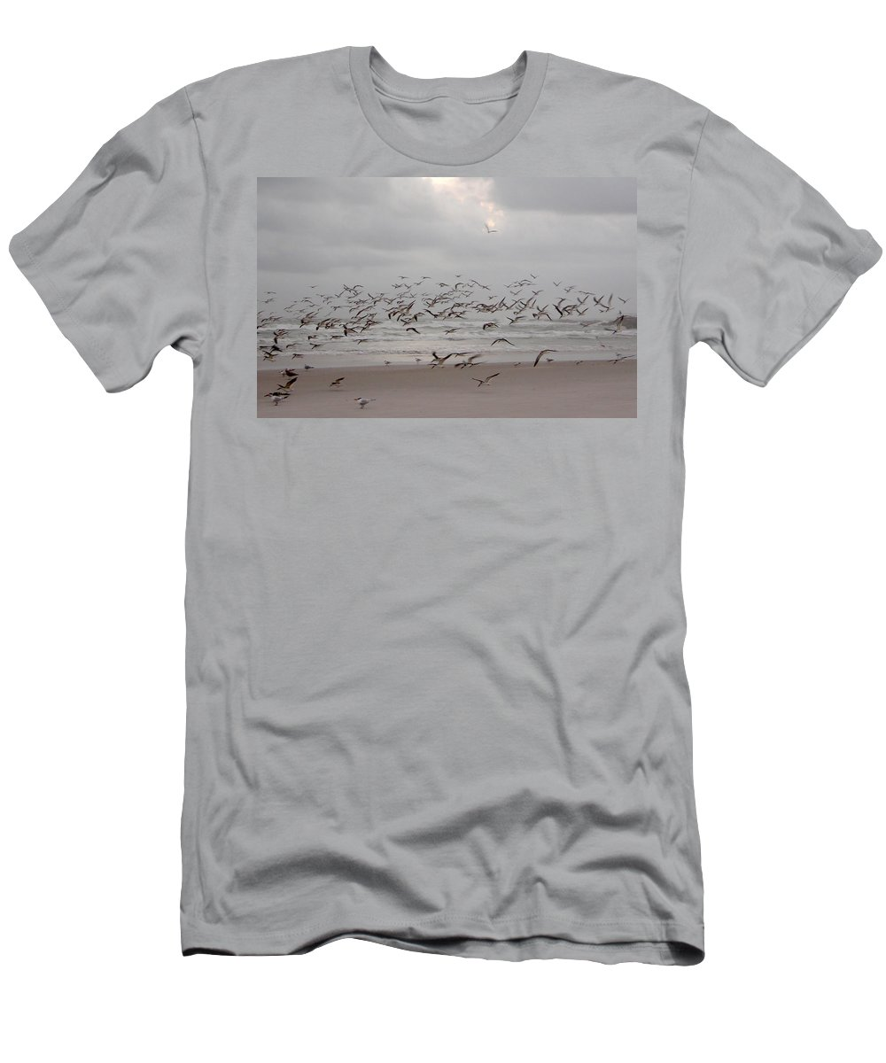 Beach Men's T-Shirt (Athletic Fit) featuring the photograph Black Skimmers On The Beach At Dawn by Julianne Felton