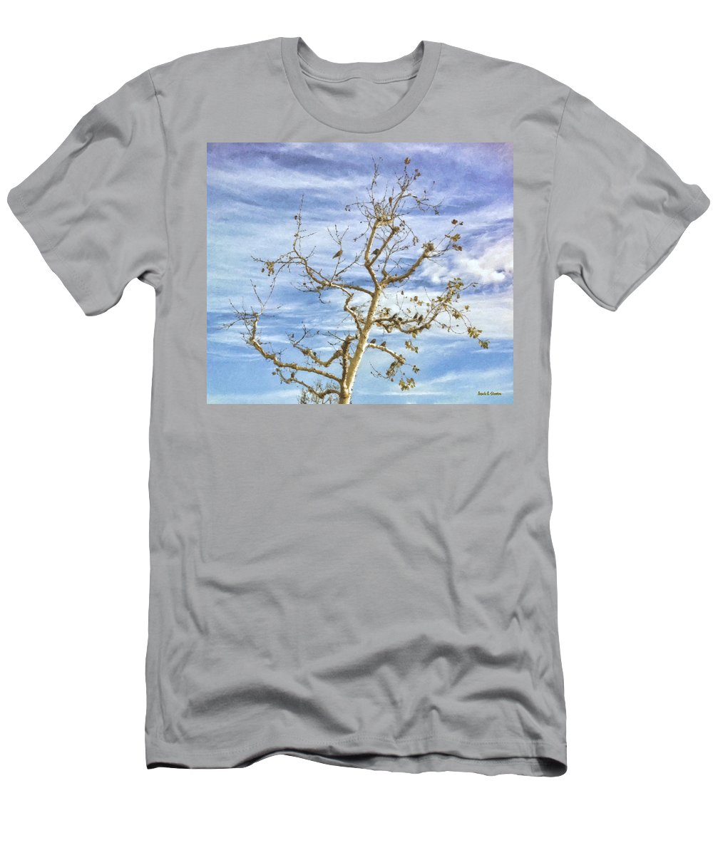 Blackbird Men's T-Shirt (Athletic Fit) featuring the painting Blackbirds In A Tree by Angela Stanton
