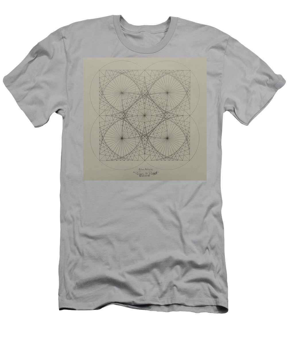 Fractals Men's T-Shirt (Athletic Fit) featuring the drawing Blackhole by Jason Padgett
