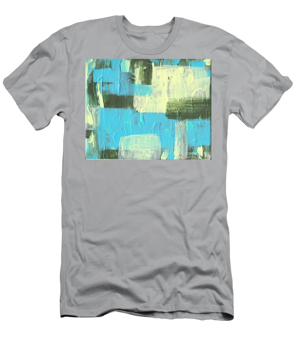 Blue Men's T-Shirt (Athletic Fit) featuring the painting Blue And Green Abstract by Paulette B Wright