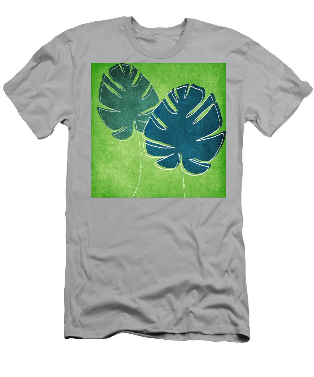 Palm Tree T-Shirt featuring the painting Blue and Green Palm Leaves by Linda Woods