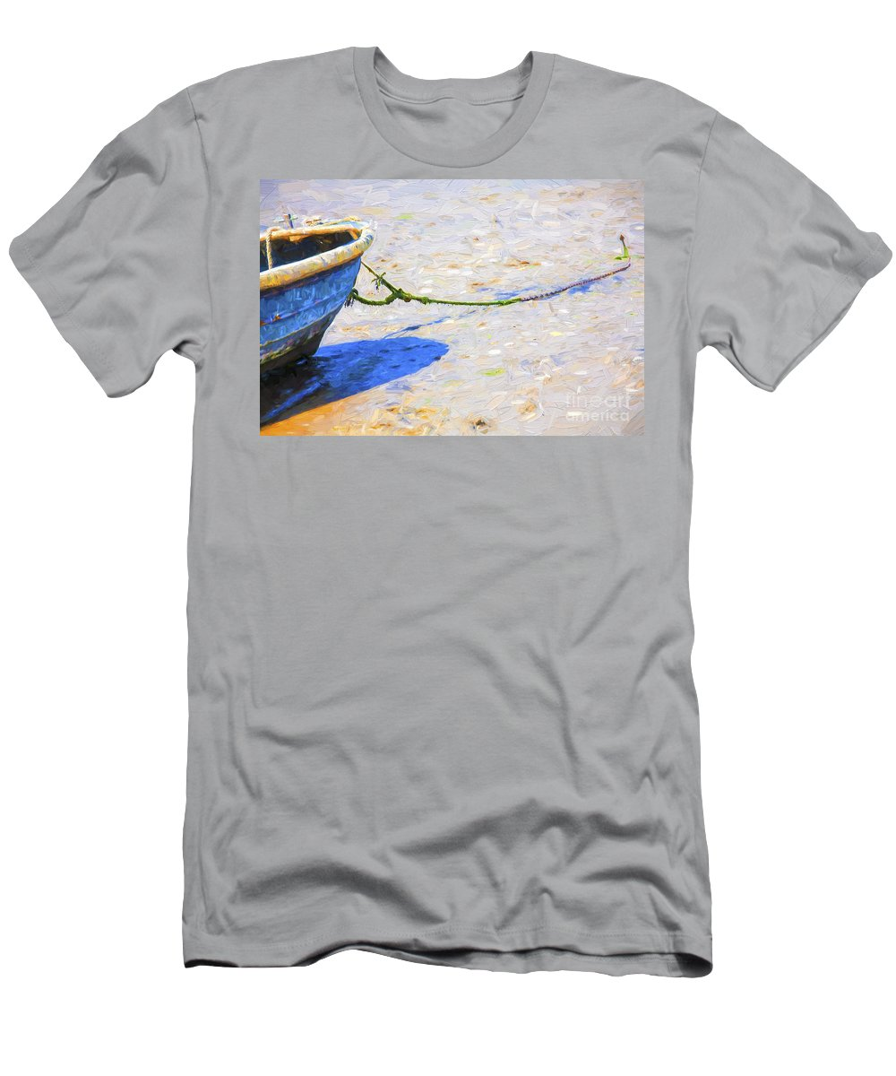 Abstract T-Shirt featuring the photograph Blue boat on mudflat by Sheila Smart Fine Art Photography