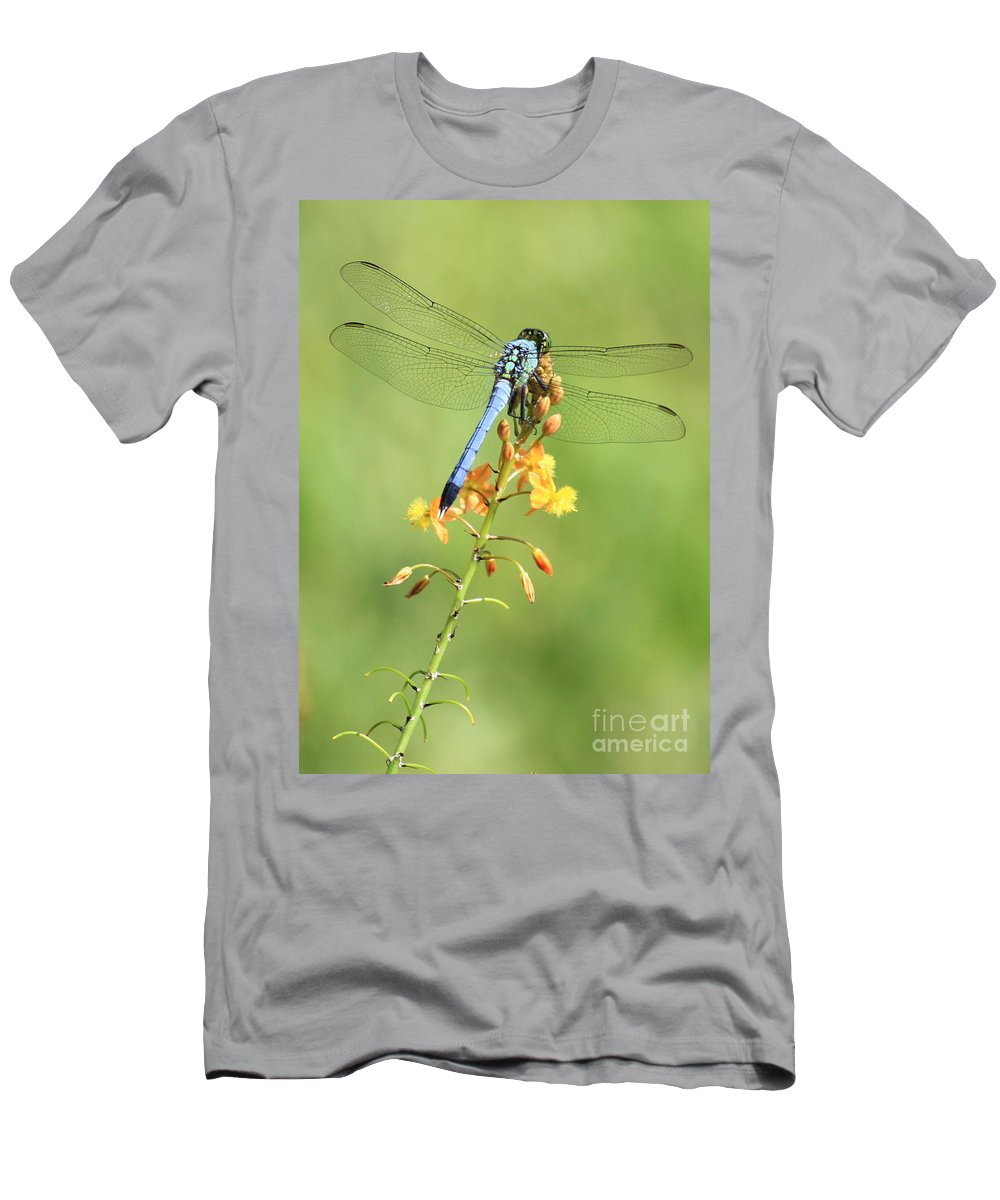 Dragonfly Men's T-Shirt (Athletic Fit) featuring the photograph Blue Dragonfly On Yellow Flower by Carol Groenen