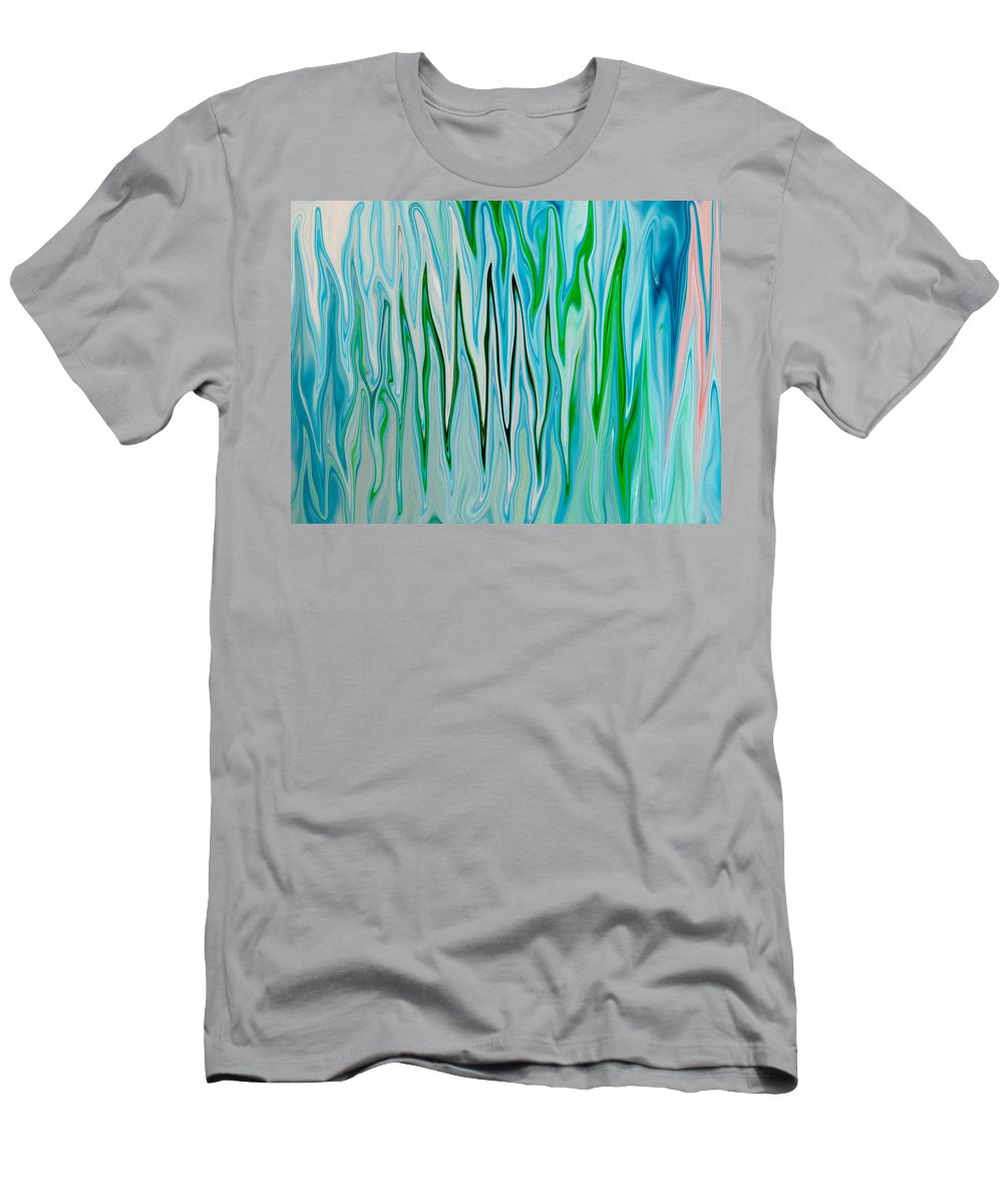 Blue Men's T-Shirt (Athletic Fit) featuring the digital art Blue Green Flames by Tera Michaels