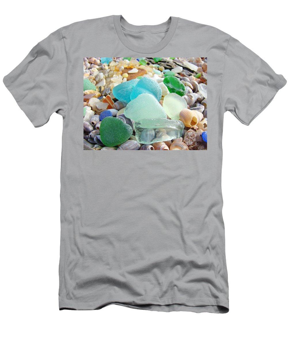 Seaglass T-Shirt featuring the photograph Blue Green Sea Glass Beach Coastal Seaglass by Patti Baslee