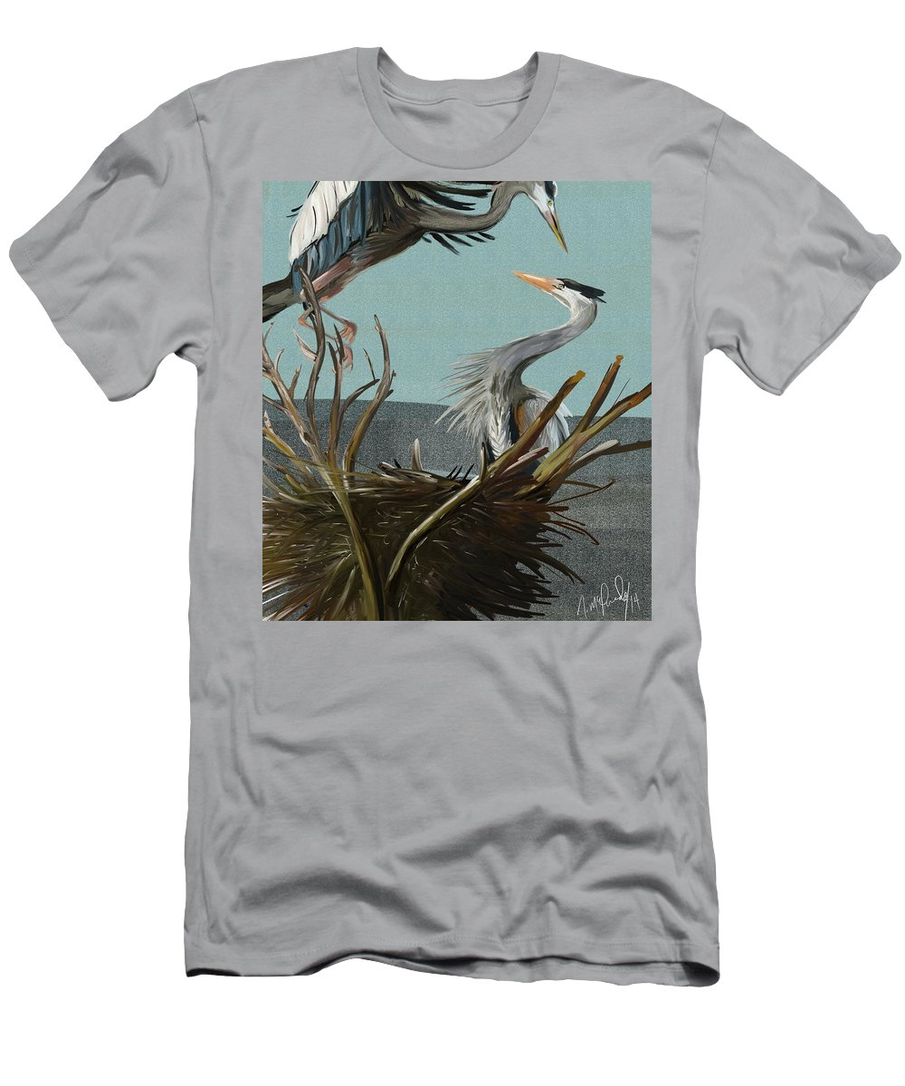 Blue Heron Men's T-Shirt (Athletic Fit) featuring the painting Blue Herons by Naomi McQuade