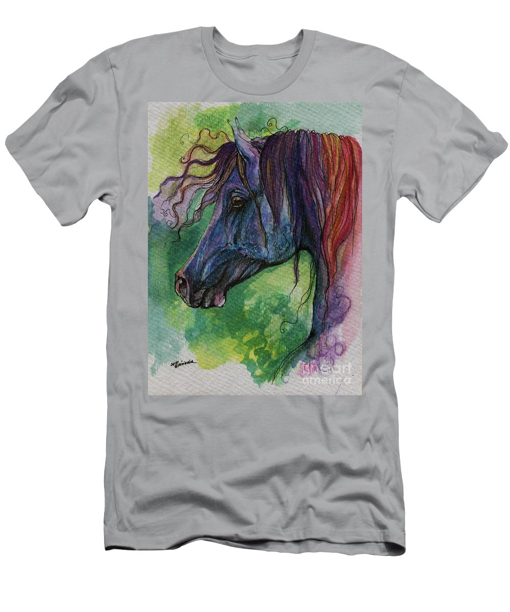 Fairytale Men's T-Shirt (Athletic Fit) featuring the painting Blue Horse With Red Mane by Angel Ciesniarska