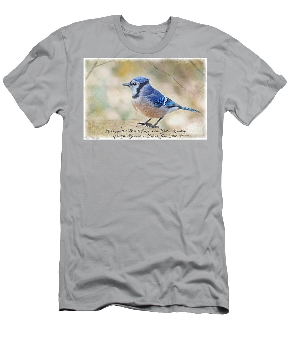 Bird Men's T-Shirt (Athletic Fit) featuring the photograph Blue Jay With Verse by Debbie Portwood