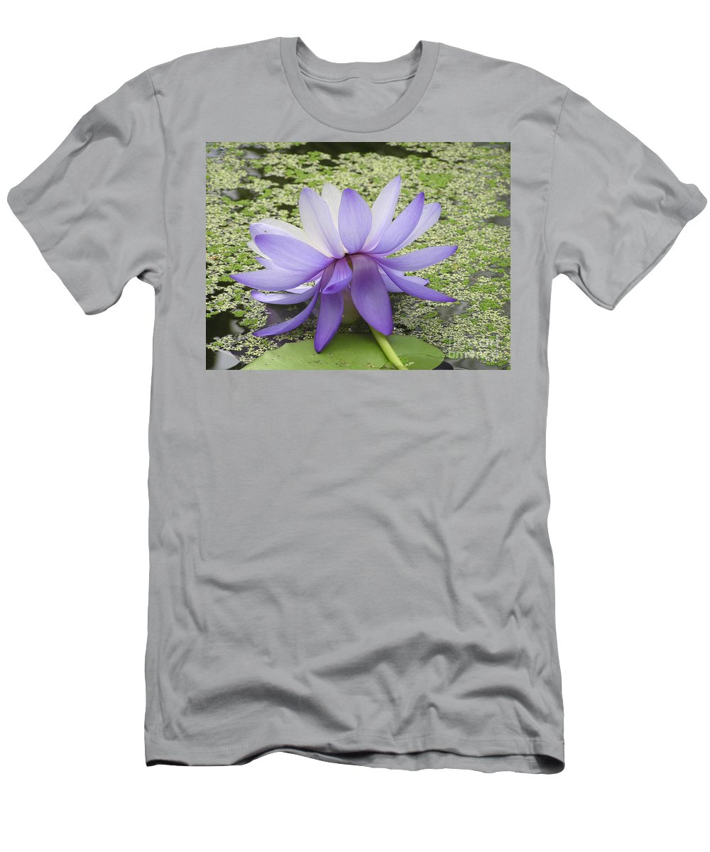 Lotus Men's T-Shirt (Athletic Fit) featuring the photograph Blue Lotus Seen From Behind by Kerstin Ivarsson