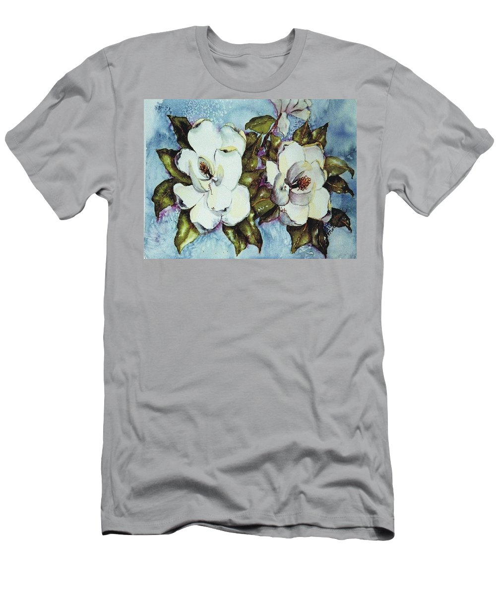 Blue Men's T-Shirt (Athletic Fit) featuring the painting Blue Magnolia by Carol Lindquist