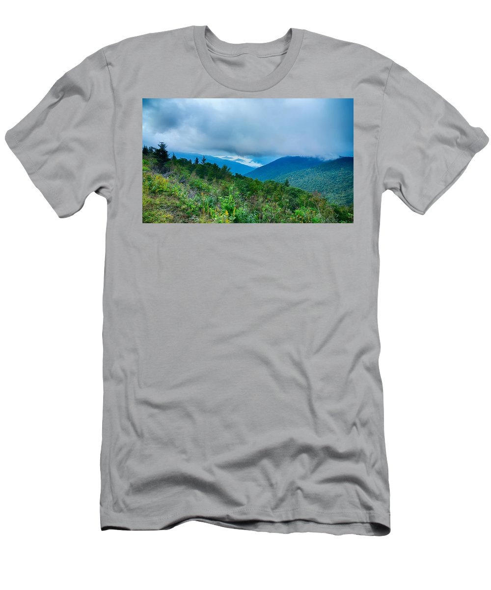 Mountains Men's T-Shirt (Athletic Fit) featuring the photograph Blue Ridge Parkway National Park Sunrise Scenic Mountains Summer by Alex Grichenko