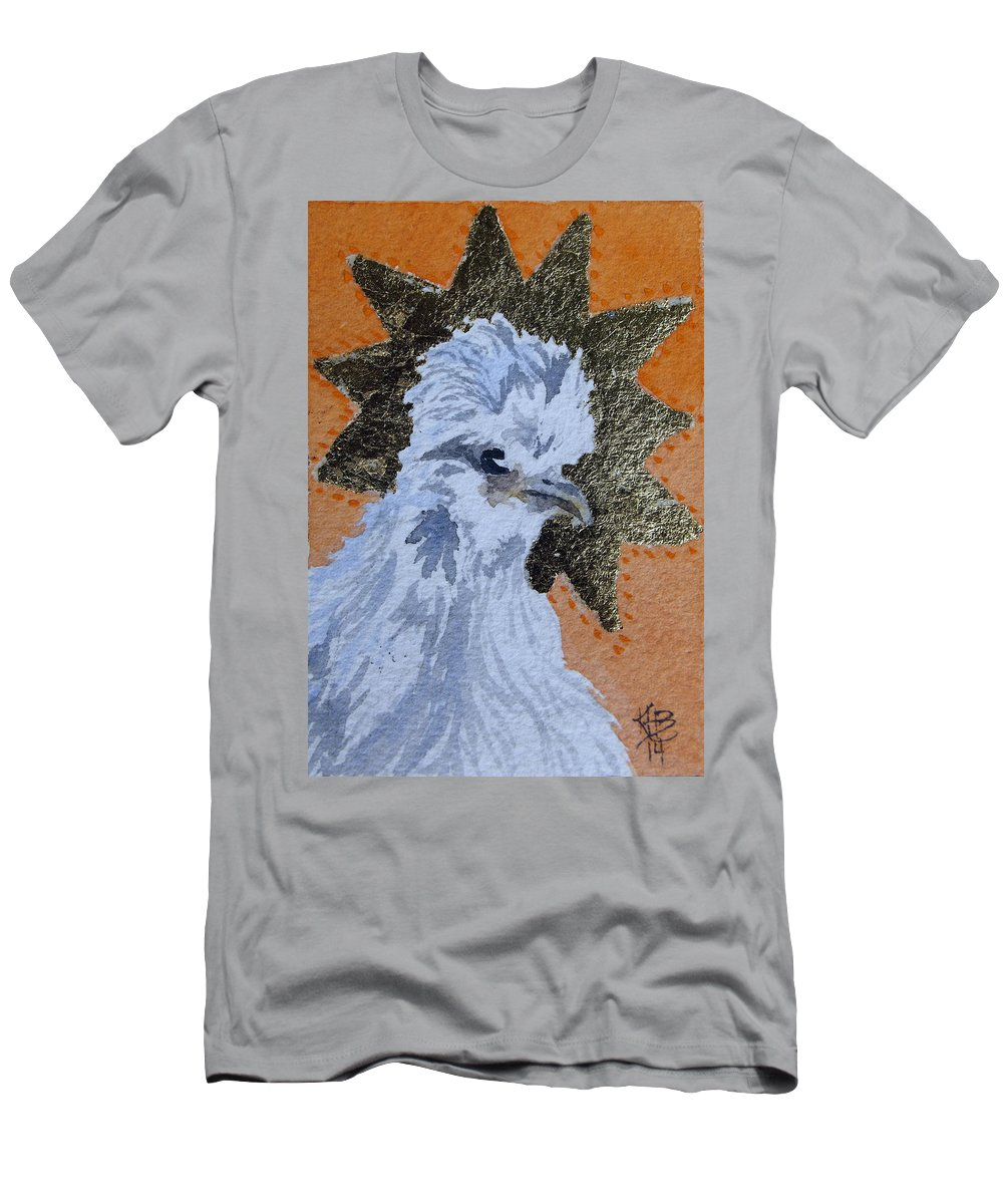 Chicken Art Men's T-Shirt (Athletic Fit) featuring the painting Blue Silky Nugget by Kirsten Beitler