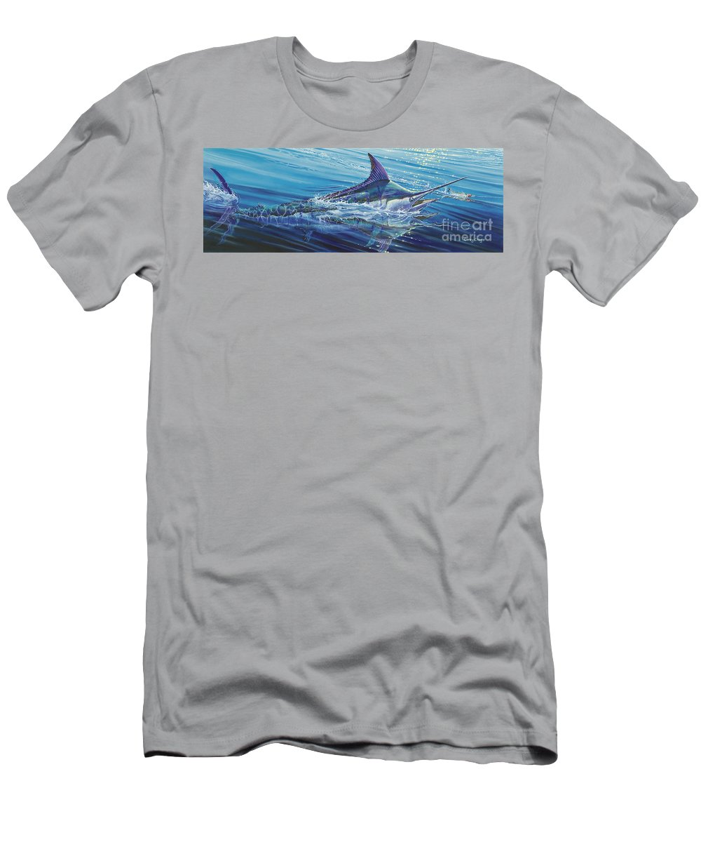 Blue Men's T-Shirt (Athletic Fit) featuring the painting Blue Tranquility Off0051 by Carey Chen