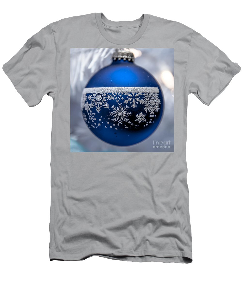 Blue Men's T-Shirt (Athletic Fit) featuring the photograph Blue Tree Ornament by Amel Dizdarevic