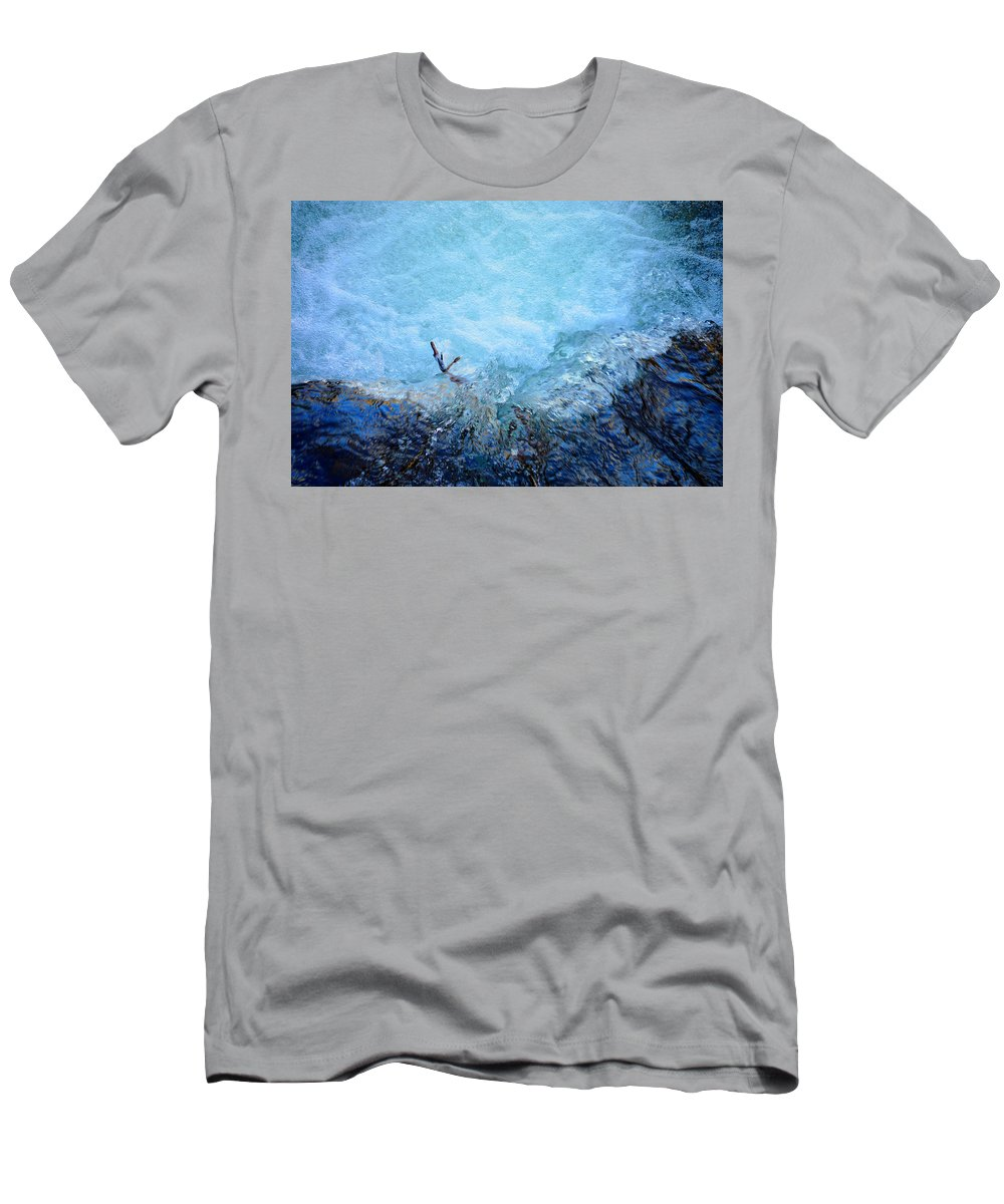 Rock Men's T-Shirt (Athletic Fit) featuring the photograph Blue Waterfall by Felicia Tica