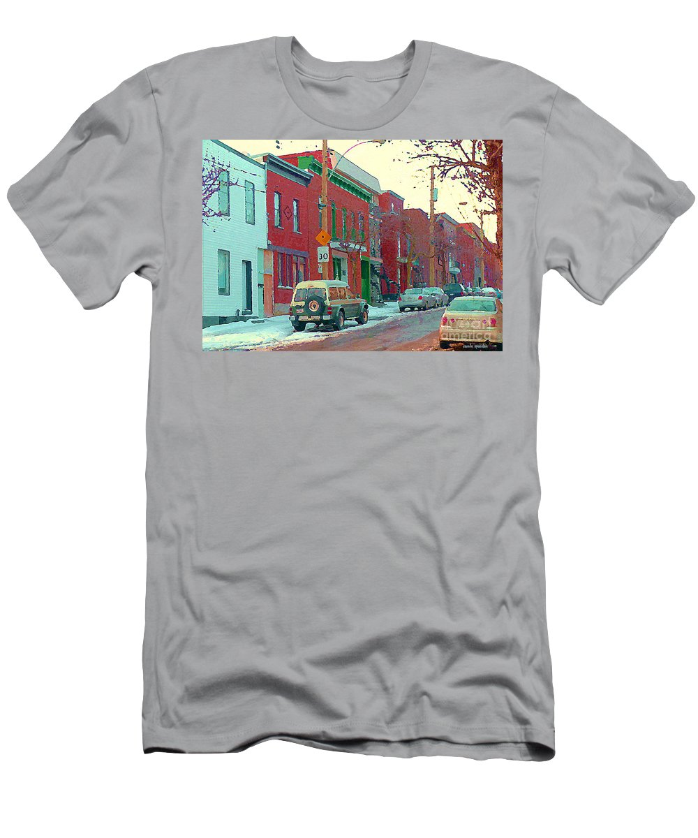 Pointe St Charles Men's T-Shirt (Athletic Fit) featuring the painting Blues And Brick Houses Winter Street Suburban Scenes The Point Sud Ouest Montreal Art Carole Spandau by Carole Spandau