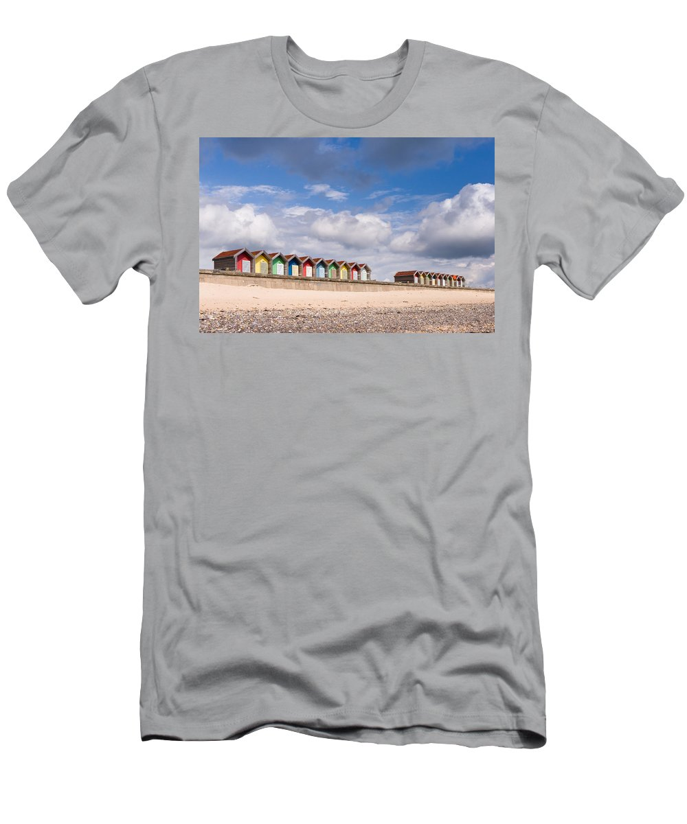 Northumberland Men's T-Shirt (Athletic Fit) featuring the photograph Blyth Beach Huts by David Head