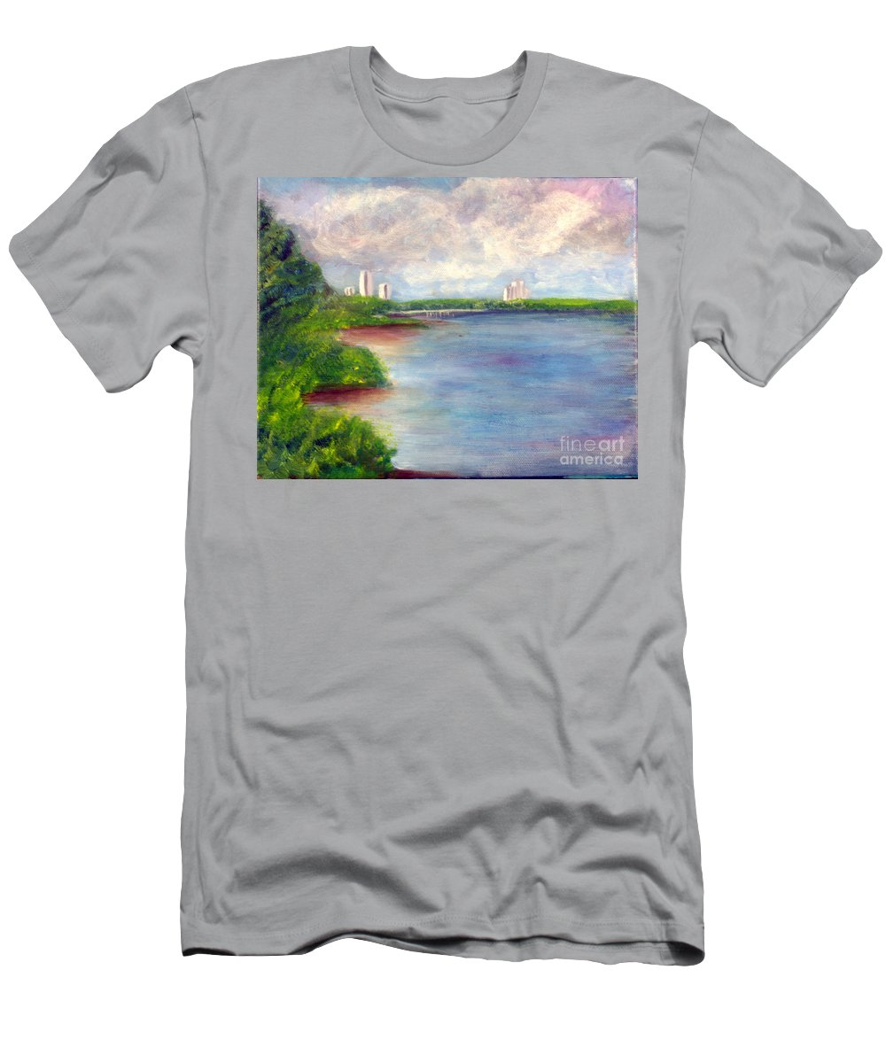 Artist Men's T-Shirt (Athletic Fit) featuring the painting Boardwalk To Beach At John D Macarthur State Park by Donna Walsh