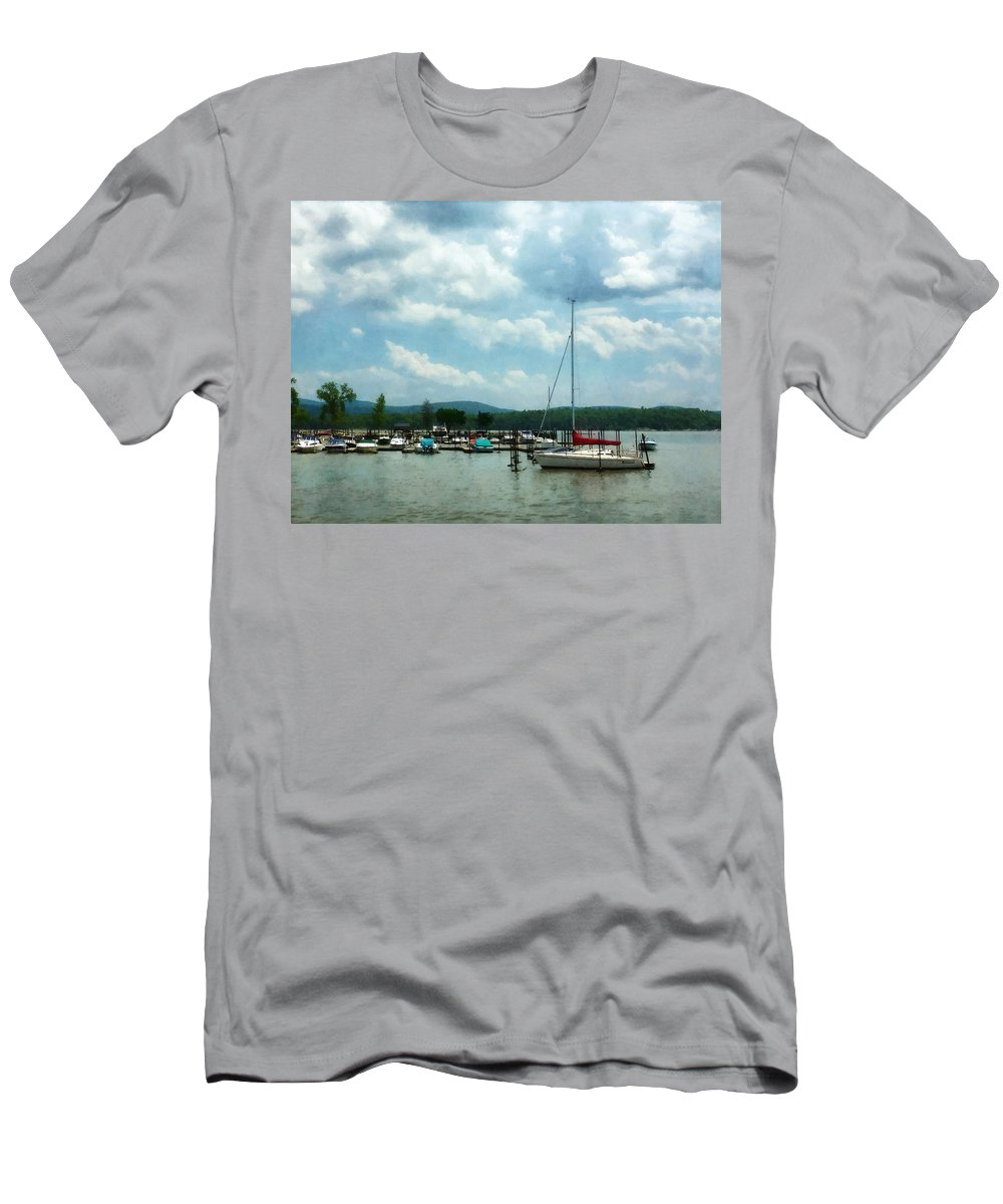Boat Men's T-Shirt (Athletic Fit) featuring the photograph Boat - Sailboat At Dock Cold Springs Ny by Susan Savad