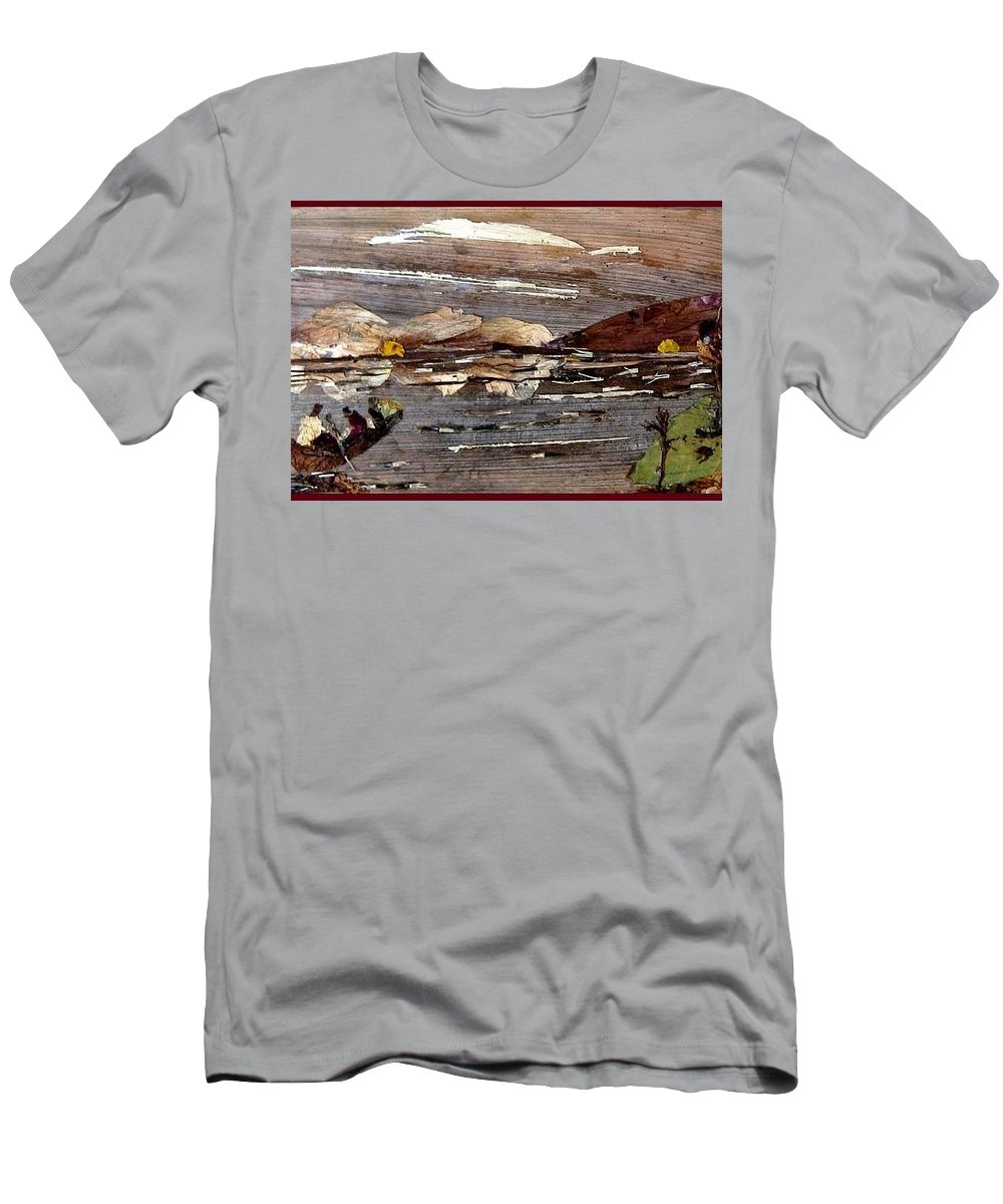 Boating Scene Men's T-Shirt (Athletic Fit) featuring the mixed media Boating In River by Basant Soni