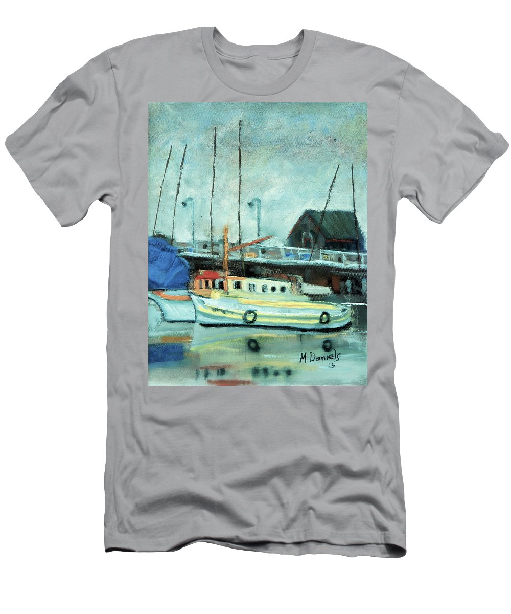 Boat Men's T-Shirt (Athletic Fit) featuring the painting Boats At Provincetown Ma by Michael Daniels