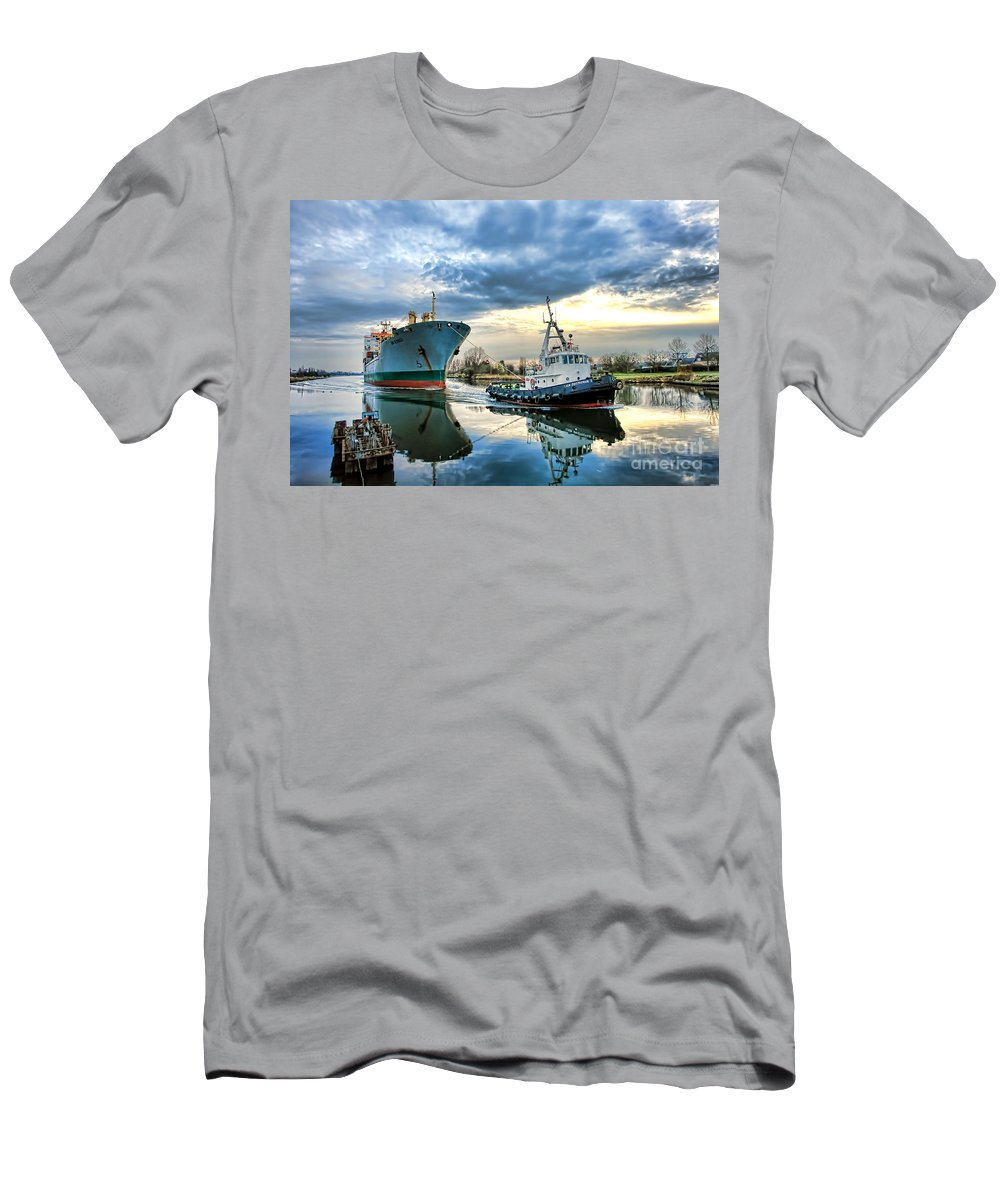 Tugboat Men's T-Shirt (Athletic Fit) featuring the photograph Boats On A Canal by Olivier Le Queinec