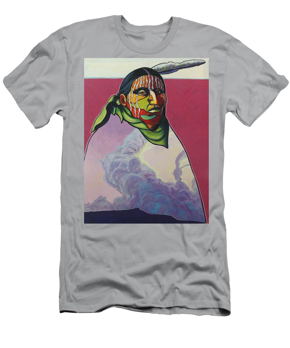 Native American Indian Men's T-Shirt (Athletic Fit) featuring the painting Body And Soul by Joe Triano