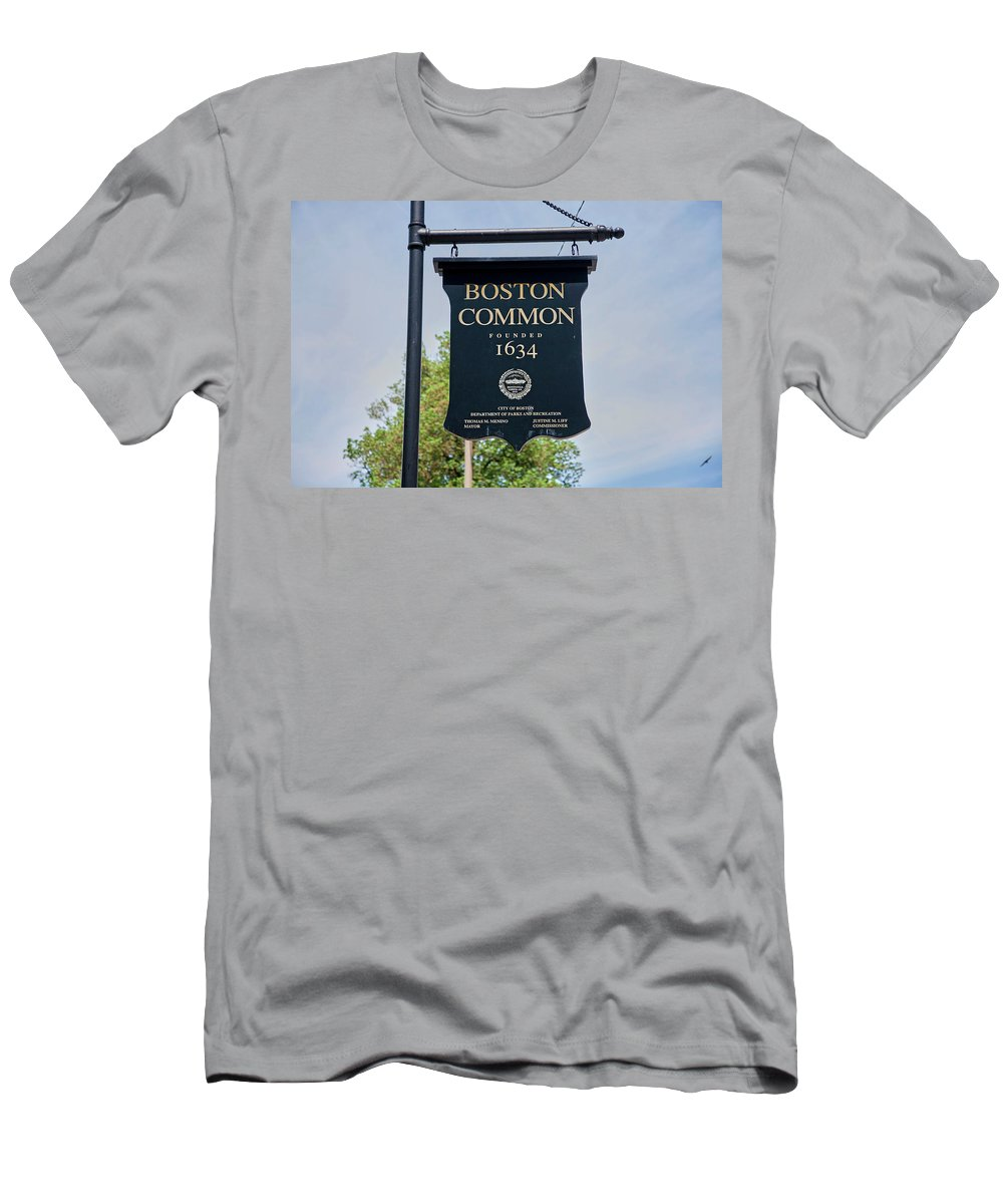 Photography Men's T-Shirt (Athletic Fit) featuring the photograph Boston Common Park Sign, Boston, Ma by Panoramic Images