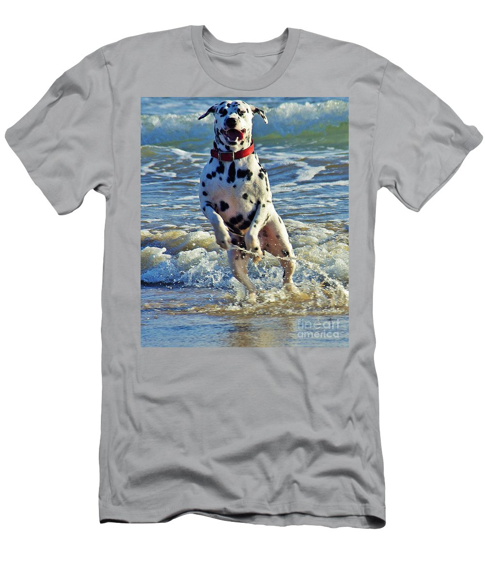 Bounding Happiness Men's T-Shirt (Athletic Fit) featuring the photograph Bounding Happiness by Blair Stuart