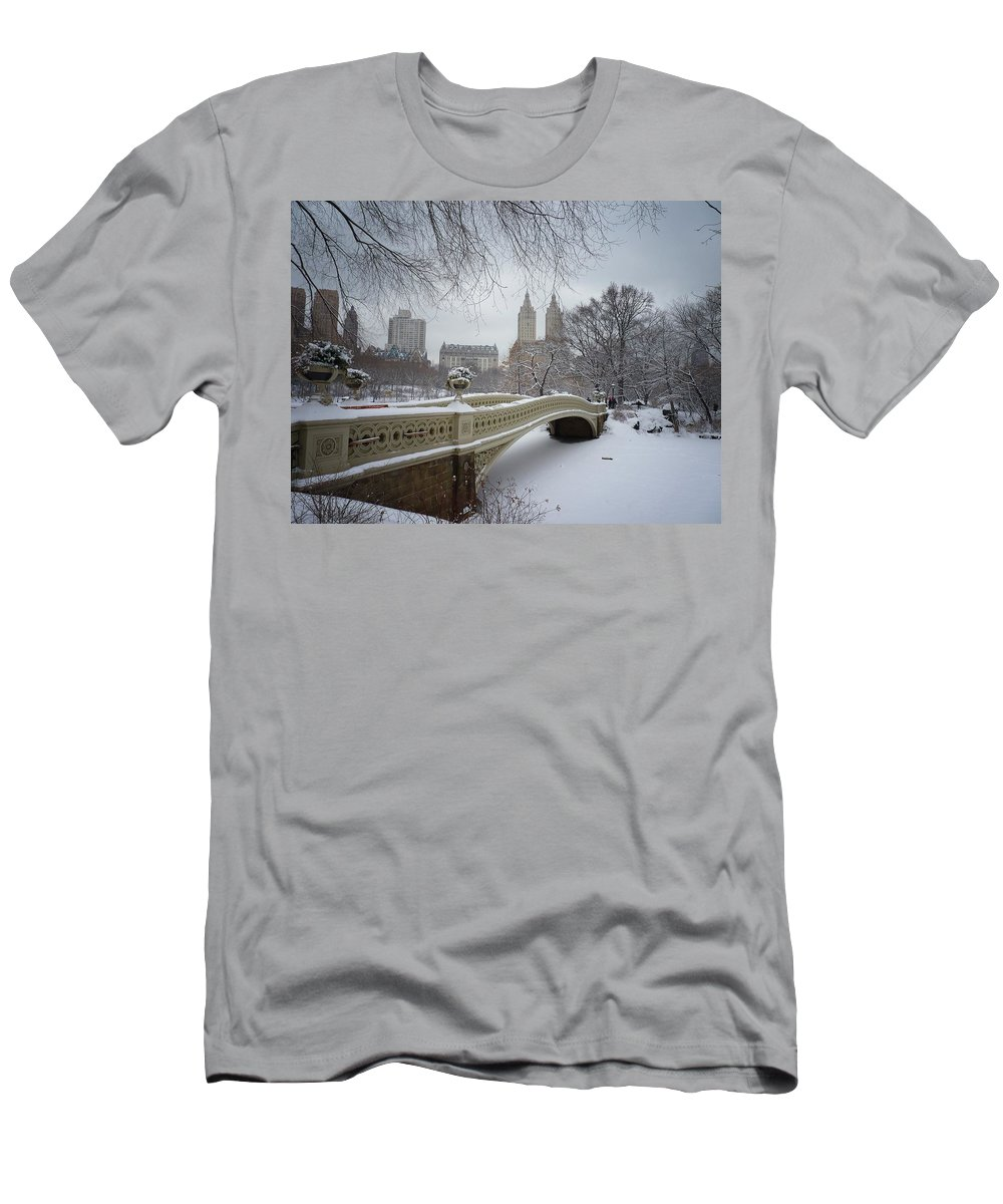 Landscape T-Shirt featuring the photograph Bow Bridge Central Park in Winter by Vivienne Gucwa