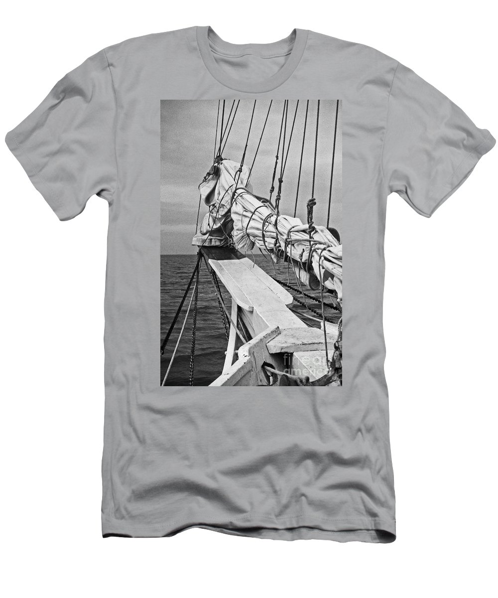 Maritime Men's T-Shirt (Athletic Fit) featuring the photograph Bow Sprit In Bnw by Skip Willits