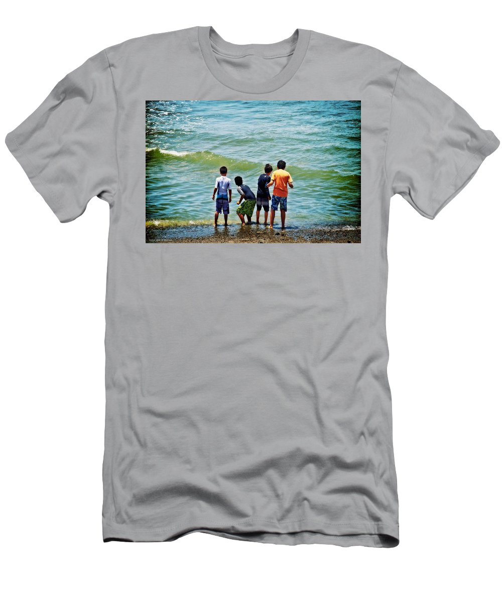 Boys On The Beach Men's T-Shirt (Athletic Fit) featuring the photograph Boys On The Beach by Mary Machare