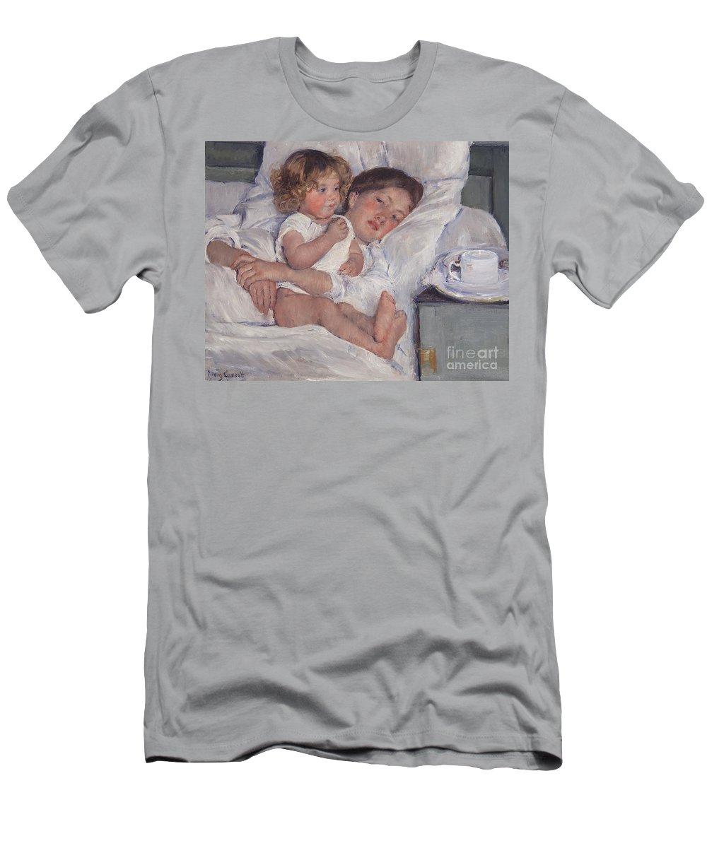 Mary Cassatt Men's T-Shirt (Athletic Fit) featuring the painting Breakfast In Bed by Mary Cassatt